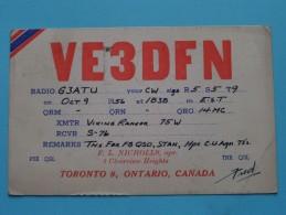 VE3DFN F. L. Nicholls Toronto Ontario Canada ( Sunderland ) Anno 1956 ( Zie Foto Voor Details ) - Radio Amateur