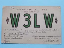 W3LW Philadelphia PA U.S.A. H.A. Robinson ( Derby England ) Anno 1938 ( Zie Foto Voor Details ) - Radio Amateur