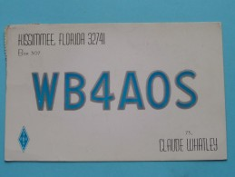 WB4AOS Kissimmee Florida USA - Claude Whatley ( To Hull England ) Anno 1961 ( Zie Foto Voor Details ) - Radio Amateur