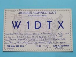 W1DTX Meriden Connecticut USA - WM. R. Curtiss ( To Hull England ) Anno 1955 ( Zie Foto Voor Details ) - Radio Amateur