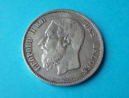 BELGIQUE PIÈCE DE MONNAIE ARGENT 5 FRANCS BELGE 1869 LEOPOLD II - 1865-1909: Leopold II