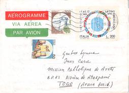 ITALY - AEROGRAMME I.L.A. 200L 1988 SAN MARTINO DI PIZZA -> ATAKPAME/TOGO - Entiers Postaux