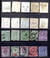 Großbritanniern, Ca.1880, 10 Alte Briefmarken Mit Versch. Perfins (16135E) - Oblitérés
