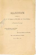 DILSEN Allocution Par Eusebe De Bellaing à L´occation Du Mariage De Bonneau De Beaufort Et Moreau De Bellaing 1905 - Dilsen-Stokkem