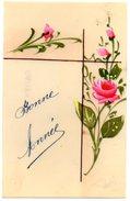 CPA En CELLULOID Peinte A La Main - BONNE ANNEE Avec Roses - New Year
