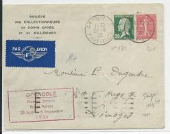 1936 - POSTE AERIENNE - ENVELOPPE Par AVION De GRENOBLE FOIRE AVION (ISERE) Pour LIMOGES - 1° VOL - Poste Aérienne