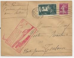 1937 - POSTE AERIENNE - ENVELOPPE Par AVION De PARIS Pour TOULOUSE - 1° VOL SANS SURTAXE SERVICE INTERIEUR - Poste Aérienne