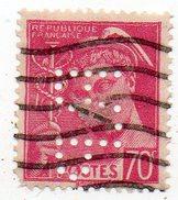 N° 416 - 70c Mercure Perforé R. P - (RP - Rhone Poulenc) Perfin - France