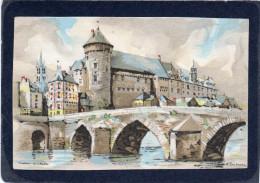LAVAL (53) - Le Vieux Pont Et Le Château  TBE AQUARELLE SIGNEE  CARTE  PHOTO   Format 9cmX14cm - Laval