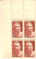 Dernier Prix. Bloc 4 Timbres  Marianne Gandon 50f N°732 - 1945-54 Marianna Di Gandon