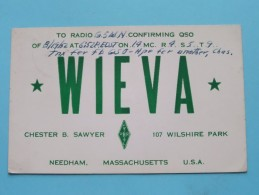 W1EVA ( Chester B. Sawyer ) Needham Massachusetts  - Anno 1952 ( Zie Foto Voor Details ) - Radio Amateur