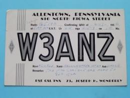 W3ANZ ( H. Wonderly ) Allentown Pennsylvania  - Anno 1954 ( Zie Foto Voor Details ) - Radio Amateur