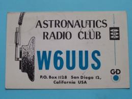 W6UUS ( Tom Eckles) ASTRONAUTICS Radio Club San Diego CA USA ( To Hull ) Anno 1962 ( Zie Foto Voor Details ) - Radio Amateur