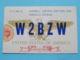 W2BZW ( Francis B. Denning ) Hopewell Junction New York ( To Mechelen Belgium ) Anno 19?? ( Zie Foto Voor Details ) - Radio Amateur