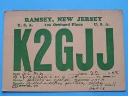 K2GJJ ( John F. Nowill ) Ramsey New Jersey ( To Hull ) Anno 1955 ( Zie Foto Voor Details ) - Radio Amateur