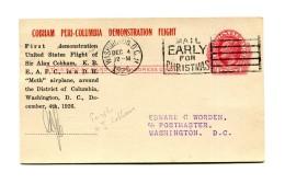 !!! COBHAM PERI-COLUMBIA DEMONSTRATION FLIGHT, AVEC SIGNATURE DE COBHAM - 1c. 1918-1940 Cartas