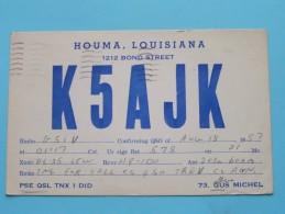 K5AJK ( Gus Michel ) Houma Louisiana USA ( To Yorkshire England ) Anno 1958 ( Zie Foto Voor Details ) - Radio Amateur