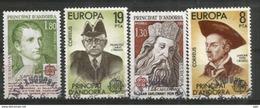 ANDORRA / ANDORRE. Europa 1980 Personnages Célèbres Andorrans (Charlemagne,Napoléon 1 Er,etc). 4 Timbres Oblitérés - Andorre Français