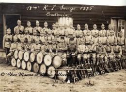 SOUGE 1935 - 18 EME REGIMENT D INFANTERIE - MUSICIENS - TAMBOURS ET CLAIRONS  - GIRONDE - PHOTO MILITAIRE - Guerre, Militaire