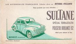 Buvard Ancien: Sultane Spécial Terrazolith Poliseul Brillance Renault 4 Places - Automotive