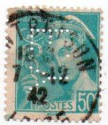 France N°538 - 50c Mercure Perforé F . Y - (FY) Perfin - Gezähnt (Perforiert/Gezähnt)