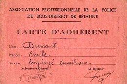 VP6621 - MILITARIA - Carte De L'Association Professionnelle De La Police ....de BETHUNE - Cartes
