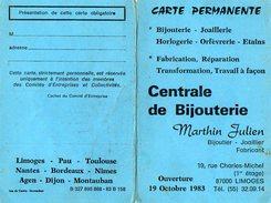 VP6624 - Carte Commerciale Vierge - Centrale De Bijouterie Martin Julien à LIMOGES - Cartes