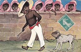 CPA Noir Nègre Négritude Chien Dog Bouledogue Bulldog Dogue Illustrateur OILETTE - Autres Illustrateurs