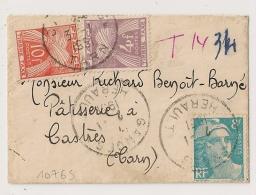 TAXE 14f Sur Petite Enveloppe  Avec 8F GANDON. GANGES Hérault Pour Castres Tarn. - Lettres Taxées