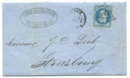N° 29 BLEU NAPOLEON SUR LETTRE / BOUCHAIN NORD  POUR STRASBOURG / 1869 - 1849-1876: Periodo Classico
