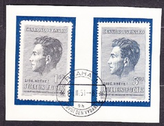 CZECHOSLOVAKIA 1951, Complete Set, First Day Cancel. Michel 645-646. WRITER J. FUCIK. Condition, See The Scans.