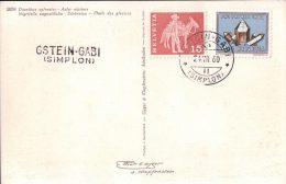 CP Fleurs, Cachet Linéaire GSTEIN-GABI (SIMPLON) (24.7.60) - Poststempel