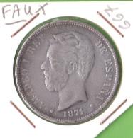 FAUX / CINQ PESETAS / AMADEO 1er - Jetons & Médailles