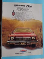 1975 MONTE CARLO - GM CHEVROLET Makes Sense For America 1975 - 12 Pages ( Zie Foto´s Voor Detail ) ! - Cars