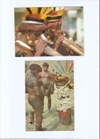 BRAZIL - MATO GROSSO STATE - BRAZILIANS INDIANS - KAMAYURA INDIANS  - KUARUP CEREMONY - MUSIC - 2 COLOR POSTCARDS - Cuiabá