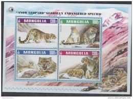 MONGOLIA, 2015, MNH,  FAUNA, LEOPARDS, SNOW LEOPARD, SHEETLET - Félins