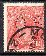 T1877 - AUSTRALIA , Official Stampa Gibbons N. O100 Wmk 7 P.13 1/2x12 1/2 Usato .