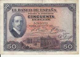ESPAGNE 50 PESETAS 1927 VF P 72 - [ 1] …-1931 : First Banknotes (Banco De España)