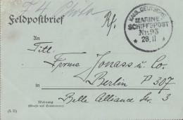 DR Feldpostbrief Kaisl. Dt. Marine-Schiffspost Nr. 93  28.11. - Deutschland
