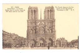 POSTAL  - PARIS  -FRANCIA  - FACHADA DE NOTRE DAME  ( LA FAÇADA DE NOTRE DAME ) - Notre Dame De Paris