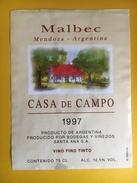 2591 - Argentine Malbec Casa De Campo 1997 - Etiquettes