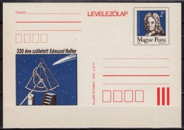 Edmund HALLEY  Astronomer Geophysicist Mathematician / Comet 330 Anniv. Of Birth - STATIONERY - POSTCARD - 1986 HUNGARY