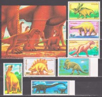 Mongolia 1990 Mongolei Mi 2166-2172 + Block 152(2173) Prehistoric Animals / Prähistorische Tiere **/MNH - Postzegels