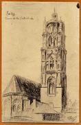 12 / RODEZ - Tour De La Cathédrale (dessin De Gérard Plouvier) - Rodez