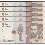 TWN - COLOMBIA NEW - 2000 2.000 Pesos 19.8.2015 (2016) UNC DEALERS LOT X 5 - FREE SHIPPING On Orders Over EUR 150 - Colombia