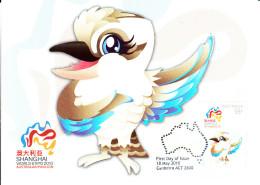 Australia 2010 Maxicard Scott #3263 55c 'Peng Peng' Kookaburra Mascot - Expo 2010 Shanghai - Maximumkarten (MC)