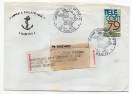 1979-Lettre De Nantes-étiquette De Réexpédition-Beau Cachet Rond 10ème Journée UPU-tp TELECOM 79 - Marcophilie (Lettres)