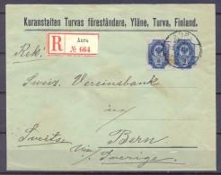 1906 , FINLANDIA , ADMON. RUSA , YV. 41 X 2 , CERTIFICADO CIRCULADO ENTRE AURA Y BERNA , VIA SUECIA, LLEGADA AL DORSO. - Briefe U. Dokumente