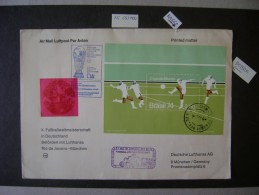 WORLD CUP OF SOCCER GERMANY 74 - LARGE LUFTHANSA CELEBRATORY ENVELOPE SENT FROM RIO DE JANEIRO TO MUNICH IN THE STATE - Coppa Del Mondo