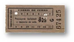 Carris De Ferro - $25 - Inspector's Chopping 25 - Tramway Ticket - Serie G - Lisboa Portugal - Tranvías